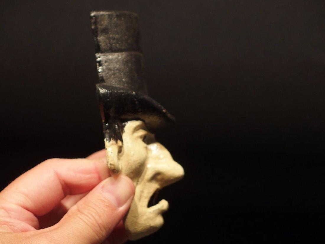 Cast Iron Abe Lincoln Folk Art Figural Beer Bottle - 8