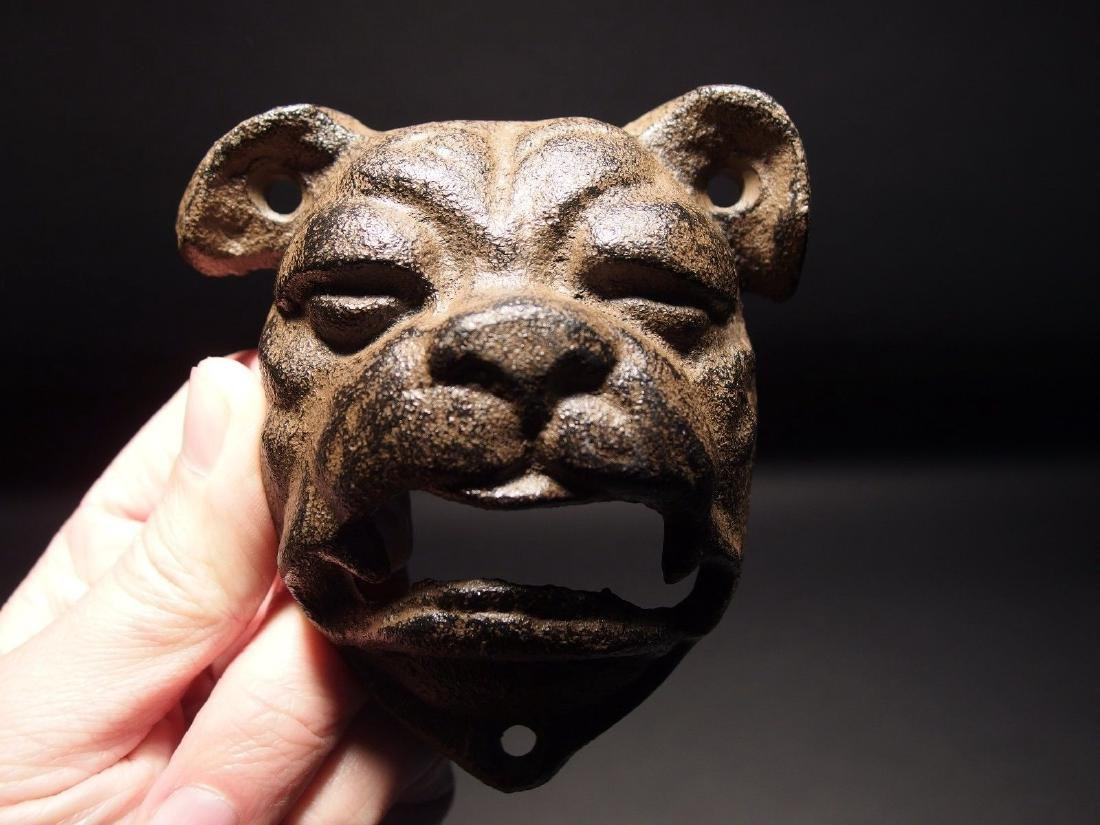 Cast Iron wall mount folk art Bulldog Beer Bottle