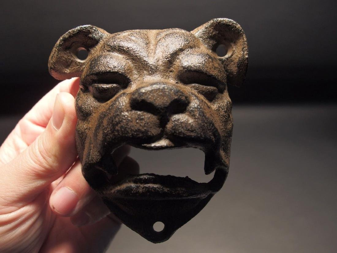 Cast Iron wall mount folk art Bulldog Beer Bottle - 6