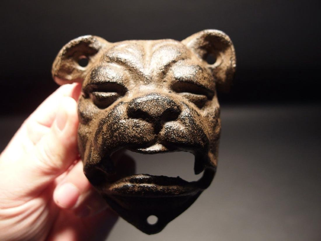 Cast Iron wall mount folk art Bulldog Beer Bottle - 7