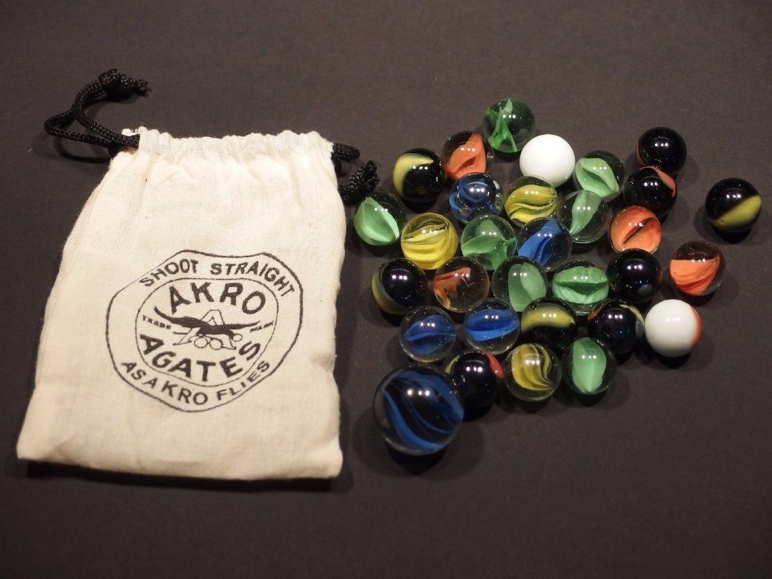 Cat Eye Marbles w Akro Agate Cloth bag