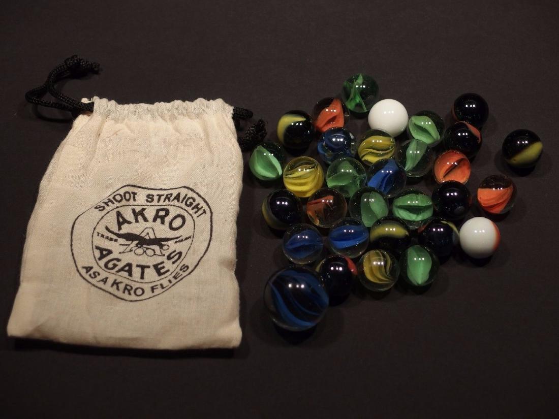 Cat Eye Marbles w Akro Agate Cloth bag - 2
