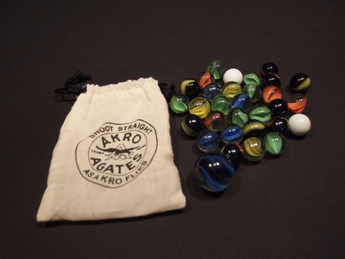 Cat Eye Marbles w Akro Agate Cloth bag - 3