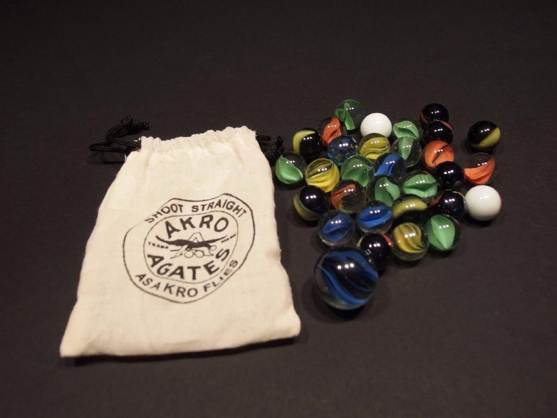 Cat Eye Marbles w Akro Agate Cloth bag - 4