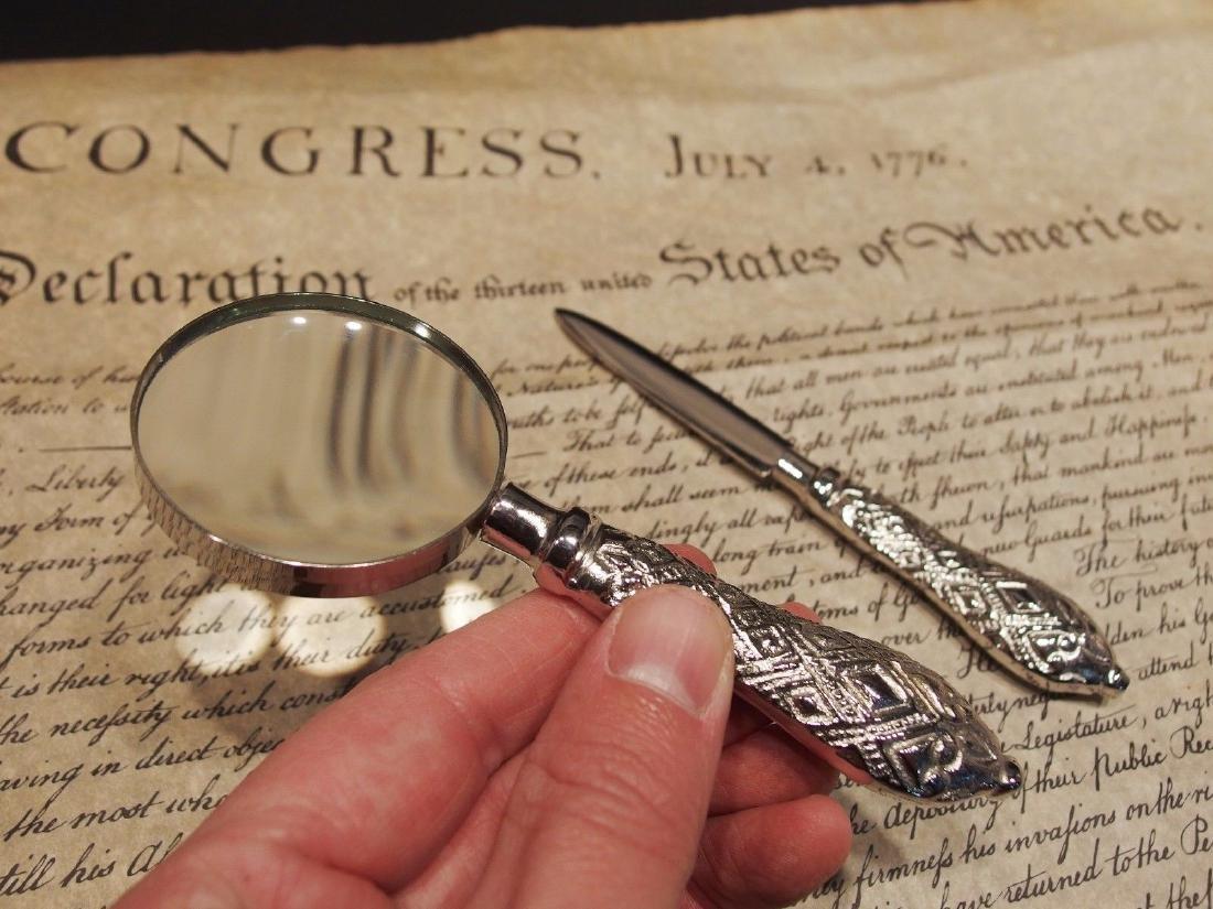 Desk Magnifying Glass Letter Opener Set w SIlver