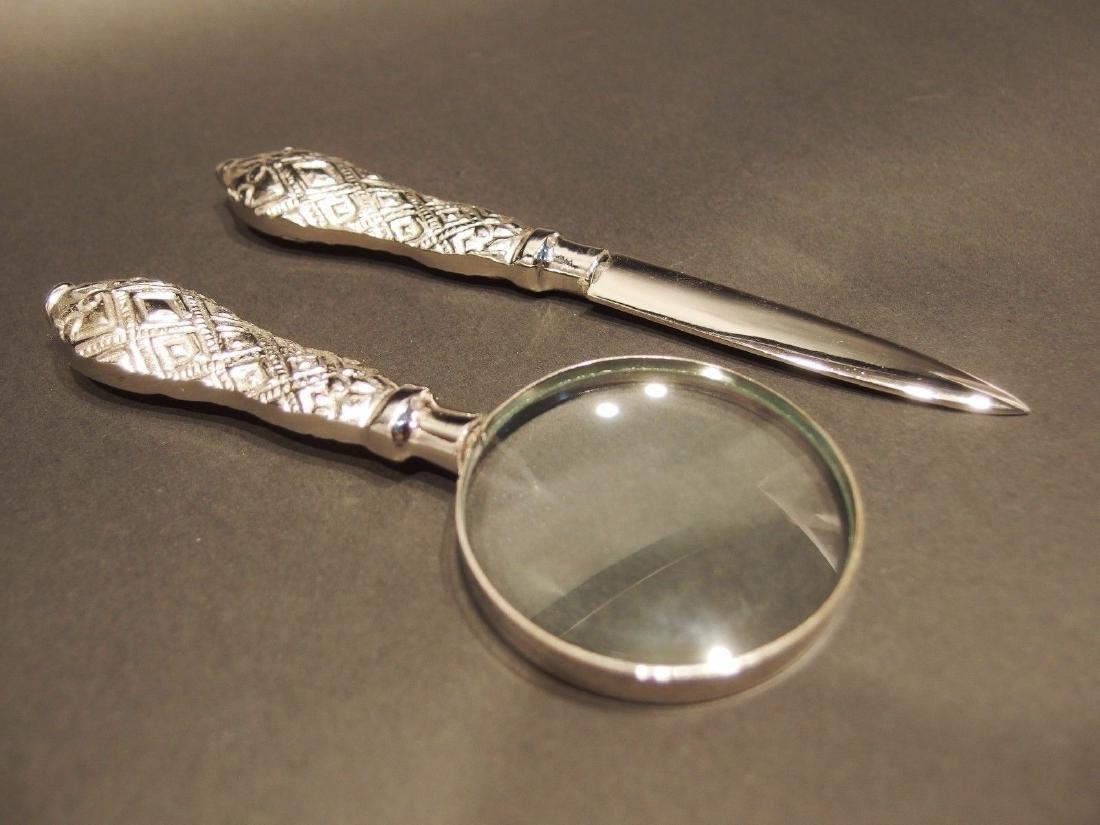 Desk Magnifying Glass Letter Opener Set w SIlver - 3