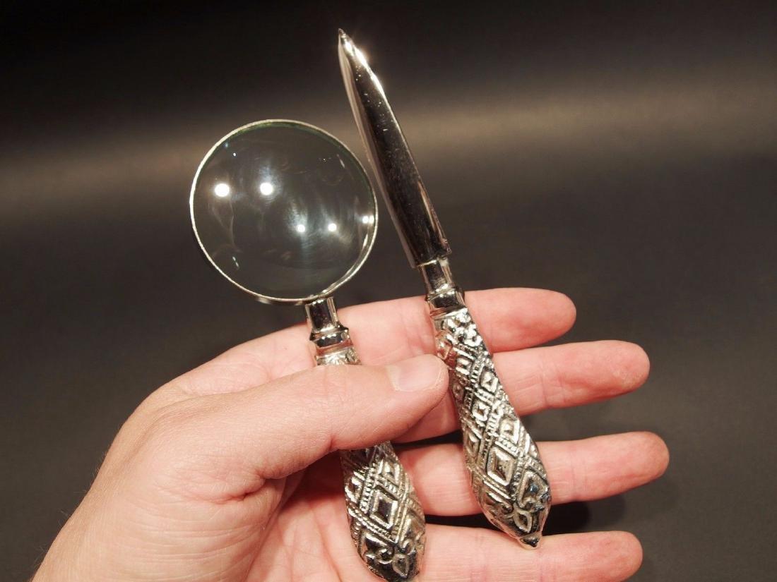 Desk Magnifying Glass Letter Opener Set w SIlver - 4