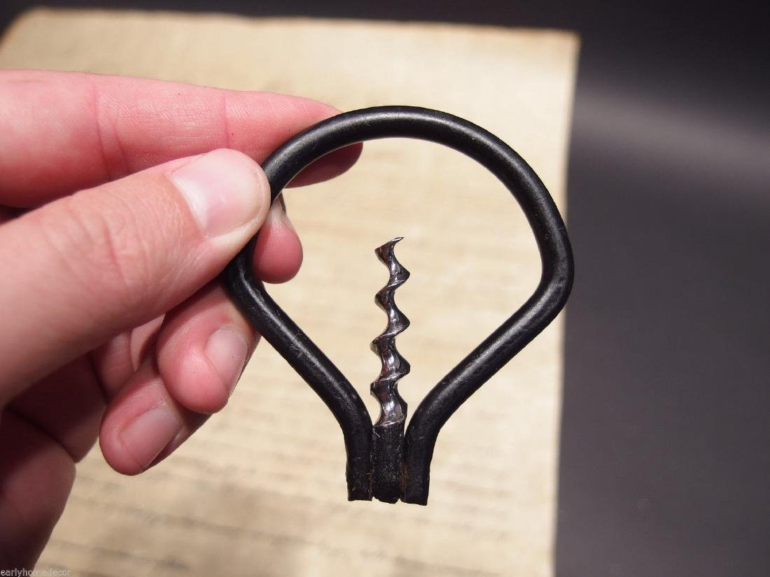 Folding Iron Bow Corkscrew Wine Bottle opener - 4