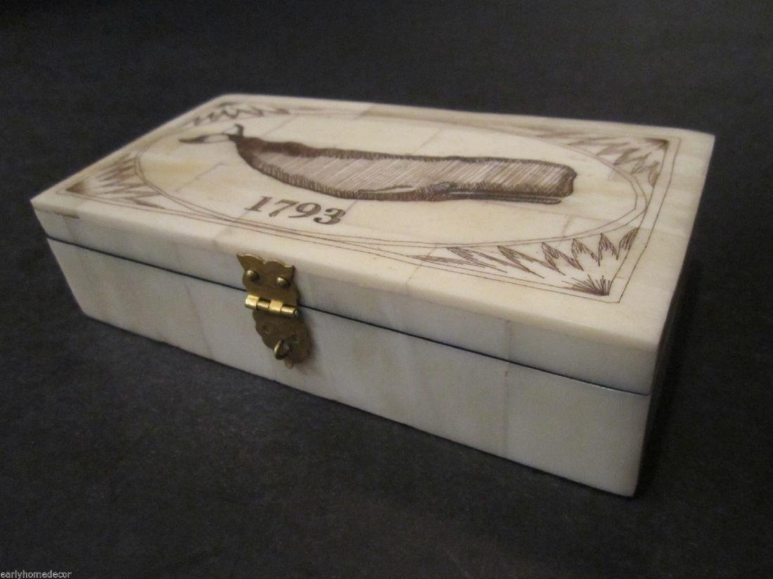 Nice Folk Art Whale Scrimshaw Bone & Wood Trinket Box - 7