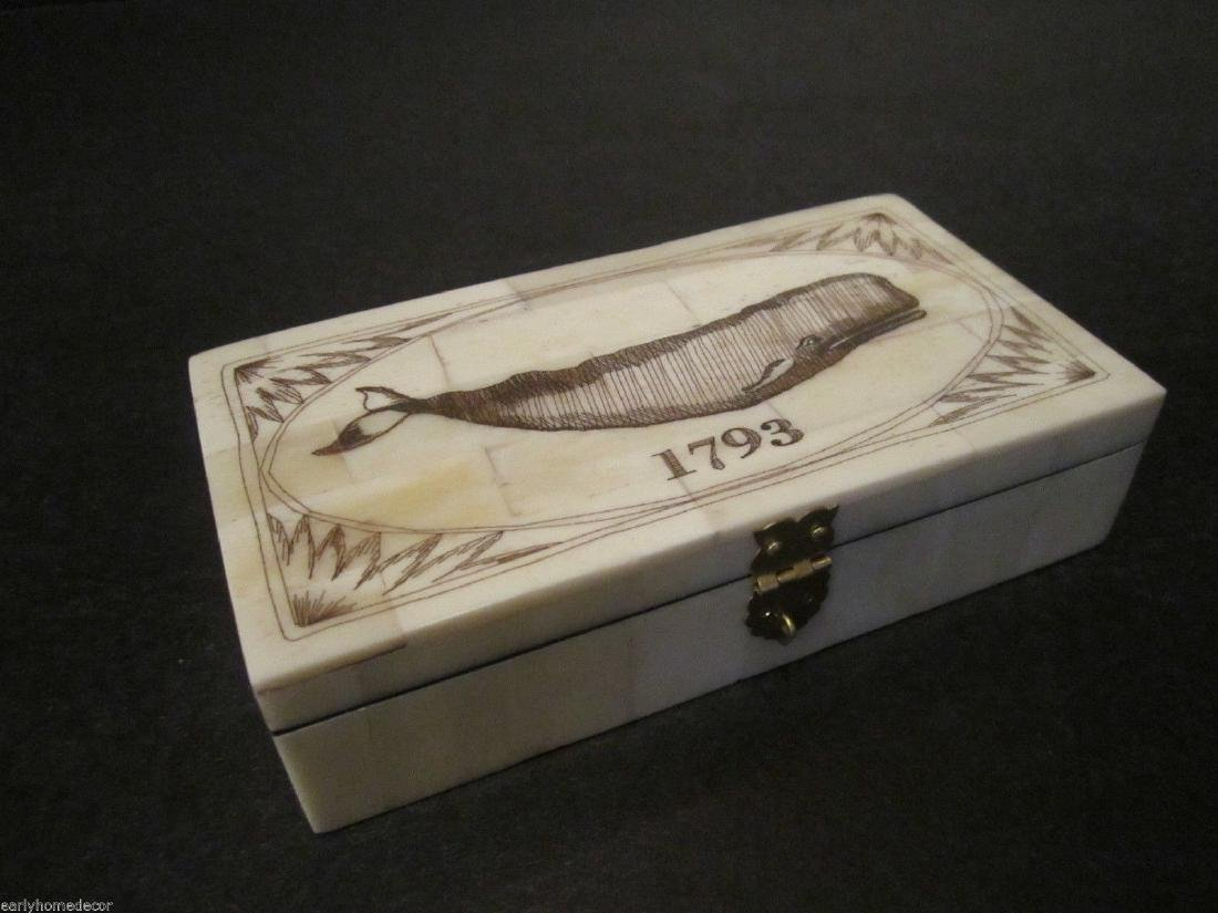 Nice Folk Art Whale Scrimshaw Bone & Wood Trinket Box - 9