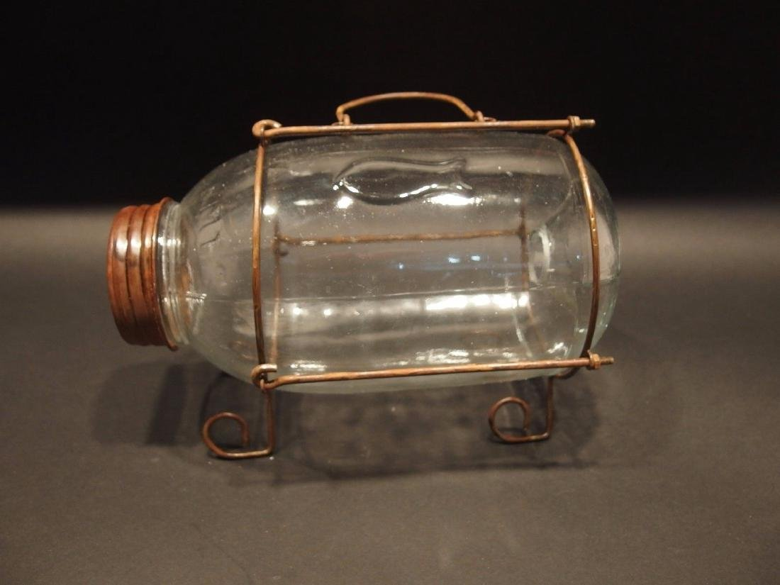 SmallClear Glass Minnow Bottle Trap Signed - 2