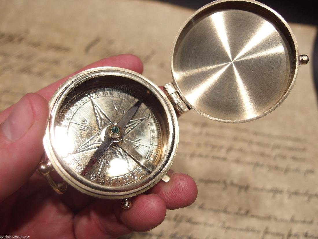 "2"" Brass Heavy Maritime Navigational Compass - 3"