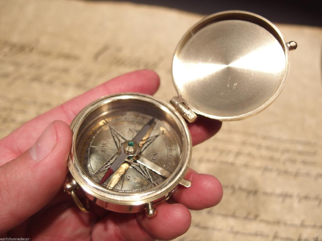 "2"" Brass Heavy Maritime Navigational Compass - 4"
