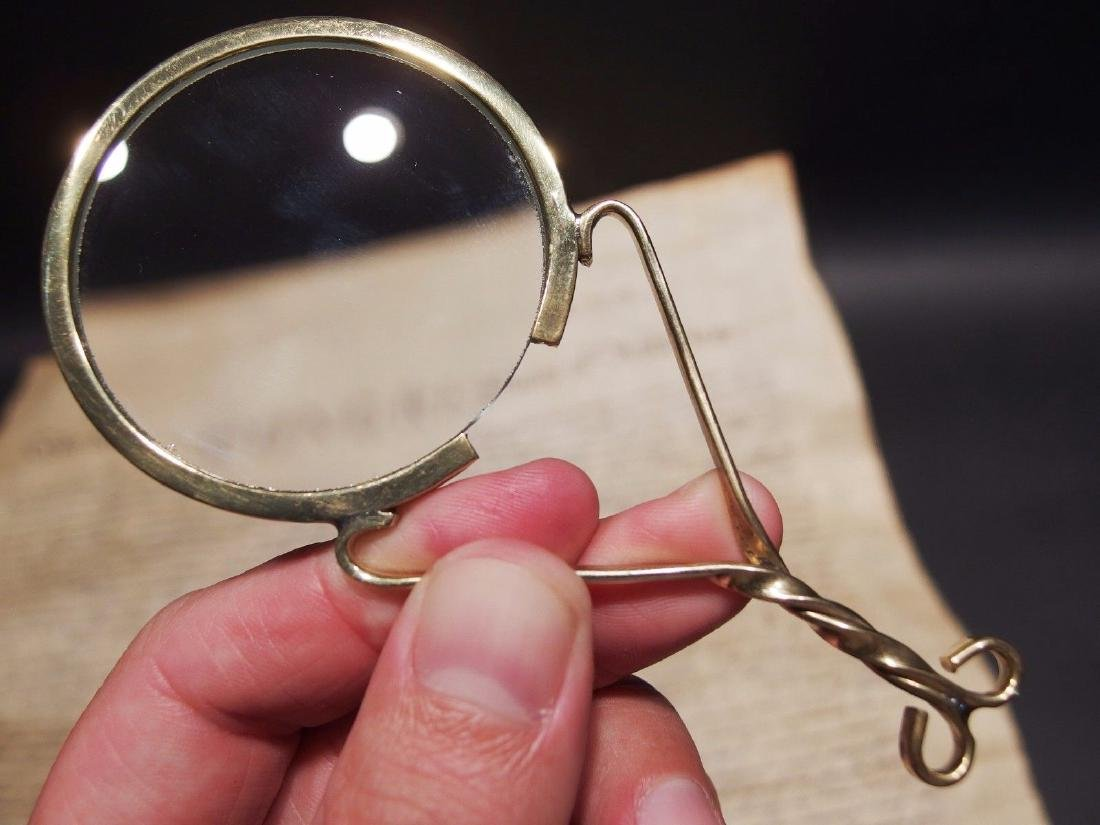 "Brass Magnifying glass Hand Lens ""Fur Trade"" Longhunter"