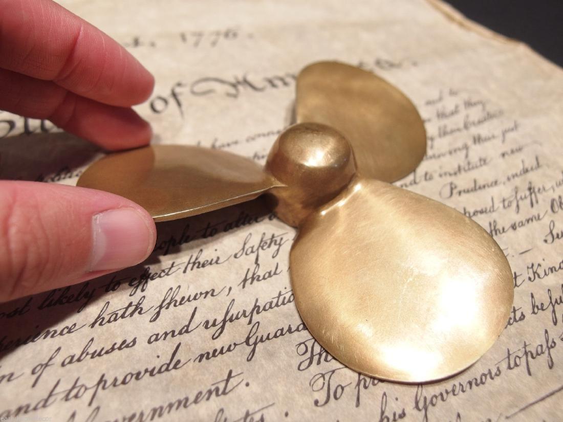 Brass Nautical Boat Propeller Paperweight Desk Figure