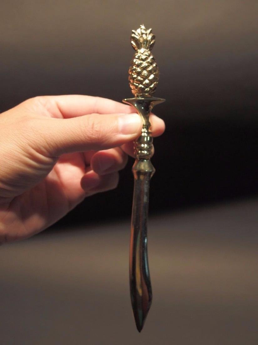Brass Pineapple letter Opener Desk Collectible - 8