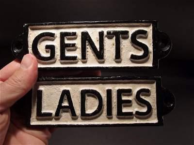 Cast Iron Bathroom Ladies & Gents Sign Plaque