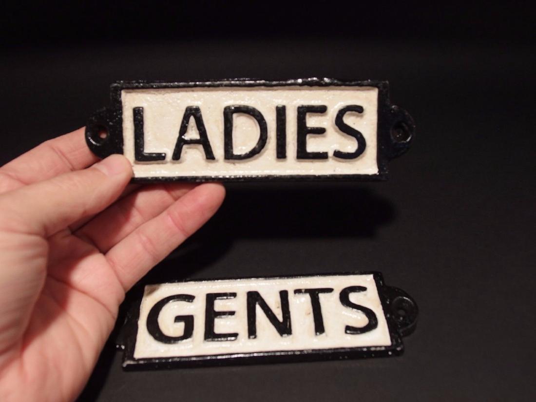 Cast Iron Bathroom Ladies & Gents Sign Plaque - 2