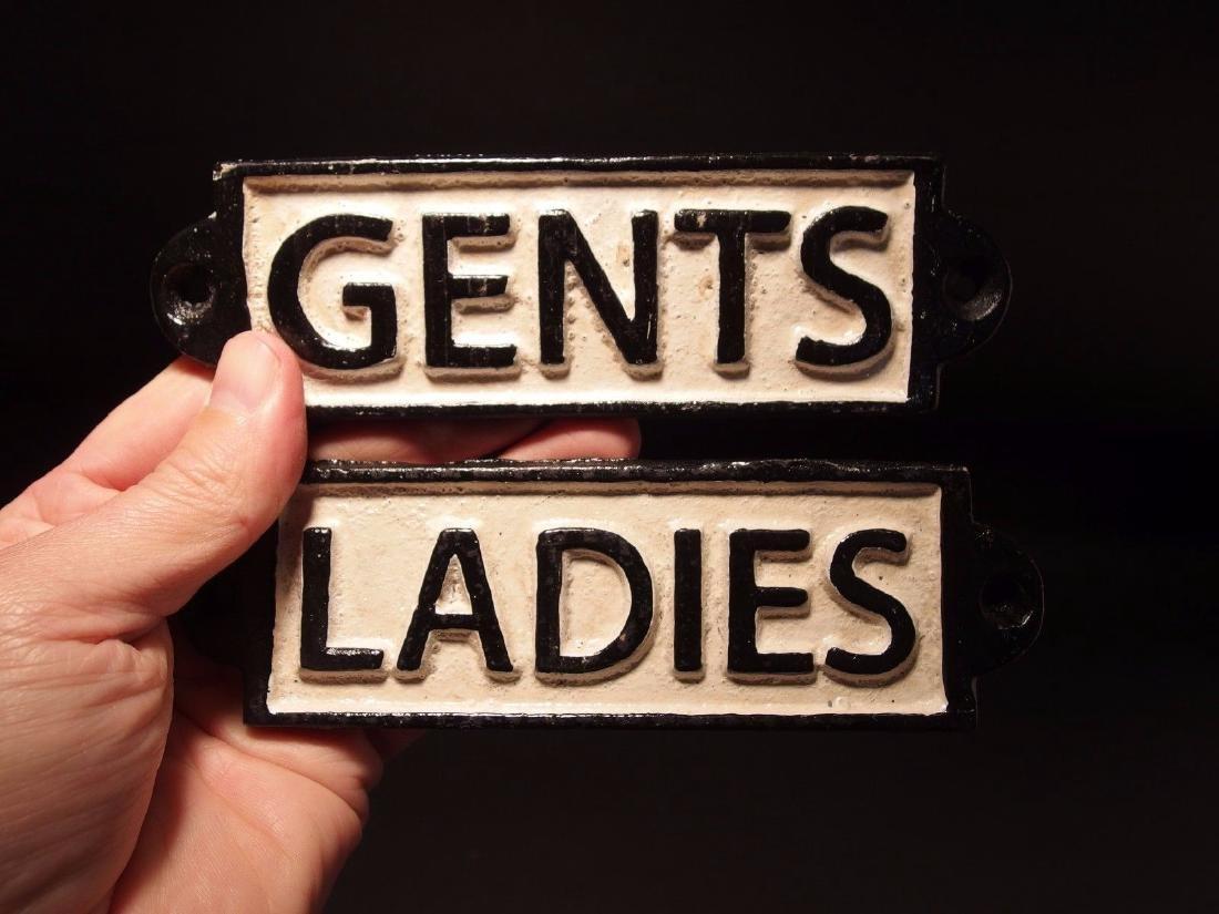 Cast Iron Bathroom Ladies & Gents Sign Plaque - 5