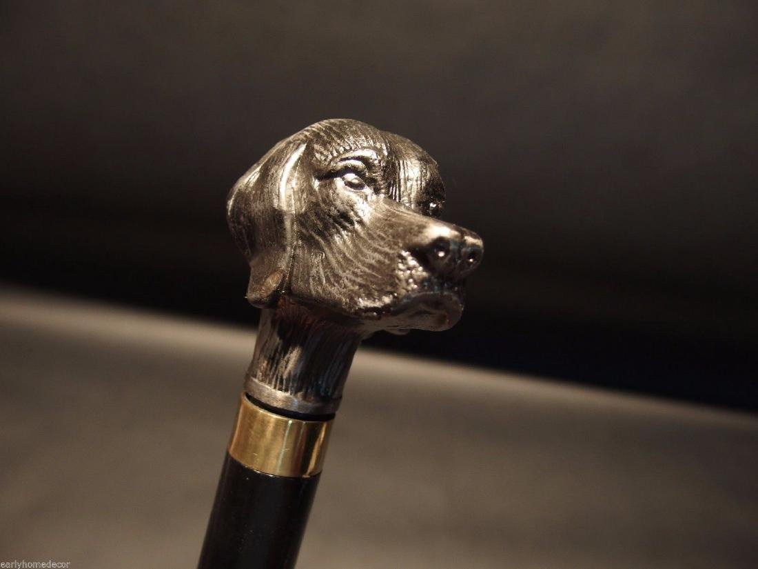 Dog Head Handle Metal Walking Stick Cane