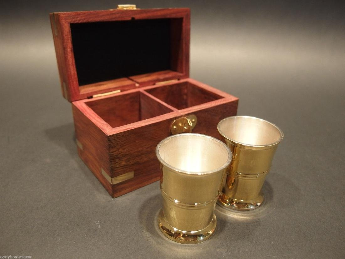 Silver Plated Shot Glass Set With Wood Box