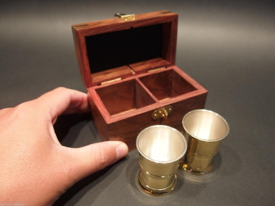 Silver Plated Shot Glass Set With Wood Box - 2