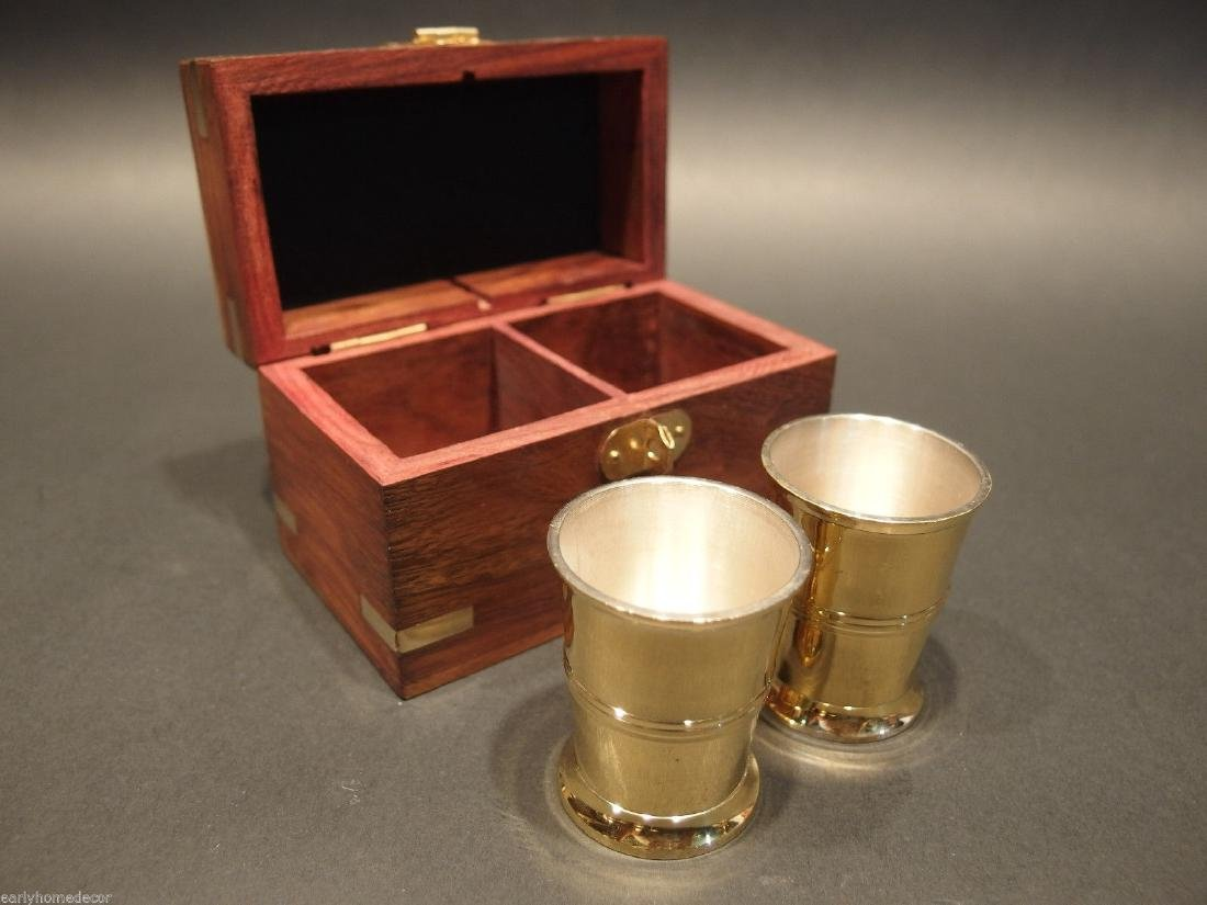 Silver Plated Shot Glass Set With Wood Box - 5
