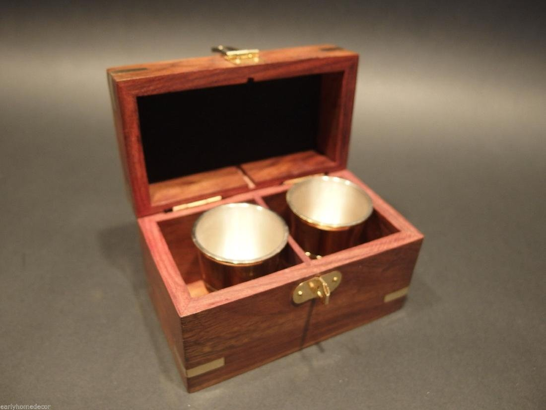 Silver Plated Shot Glass Set With Wood Box - 6