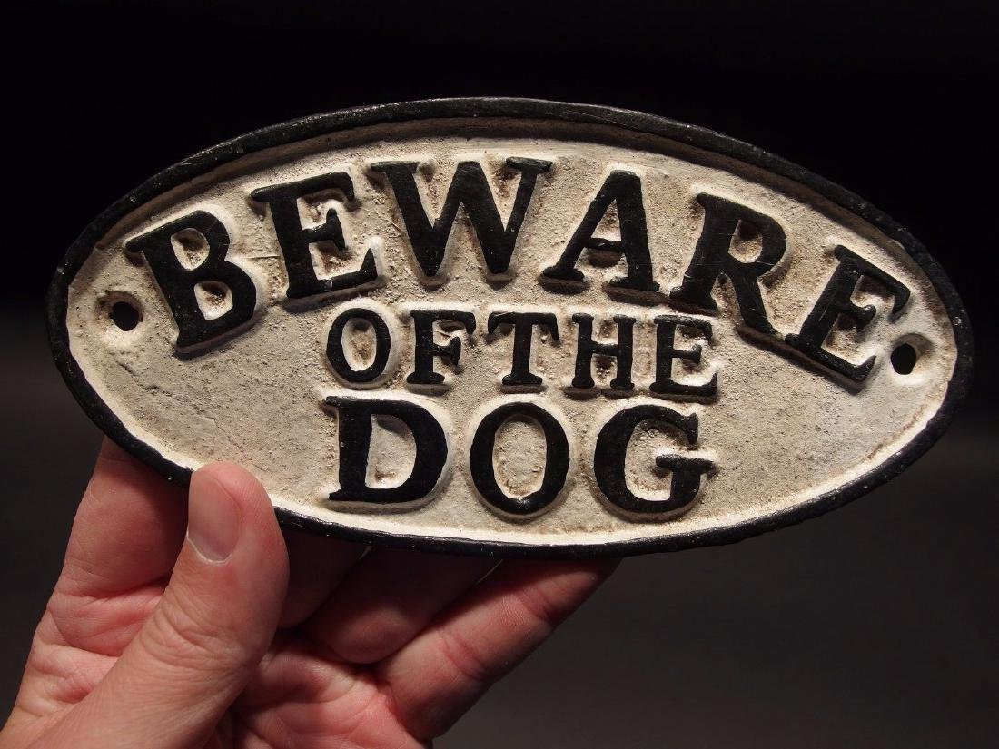 Cast Iron Beware Of The Dog Warning Sign w Raised - 4