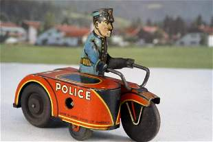 MARX Police Engine With Rider and Sidecar
