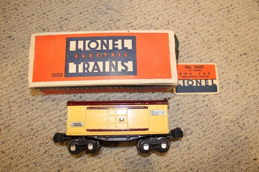 Lionel Prewar 2655 Yellow Maroon Boxcar OB