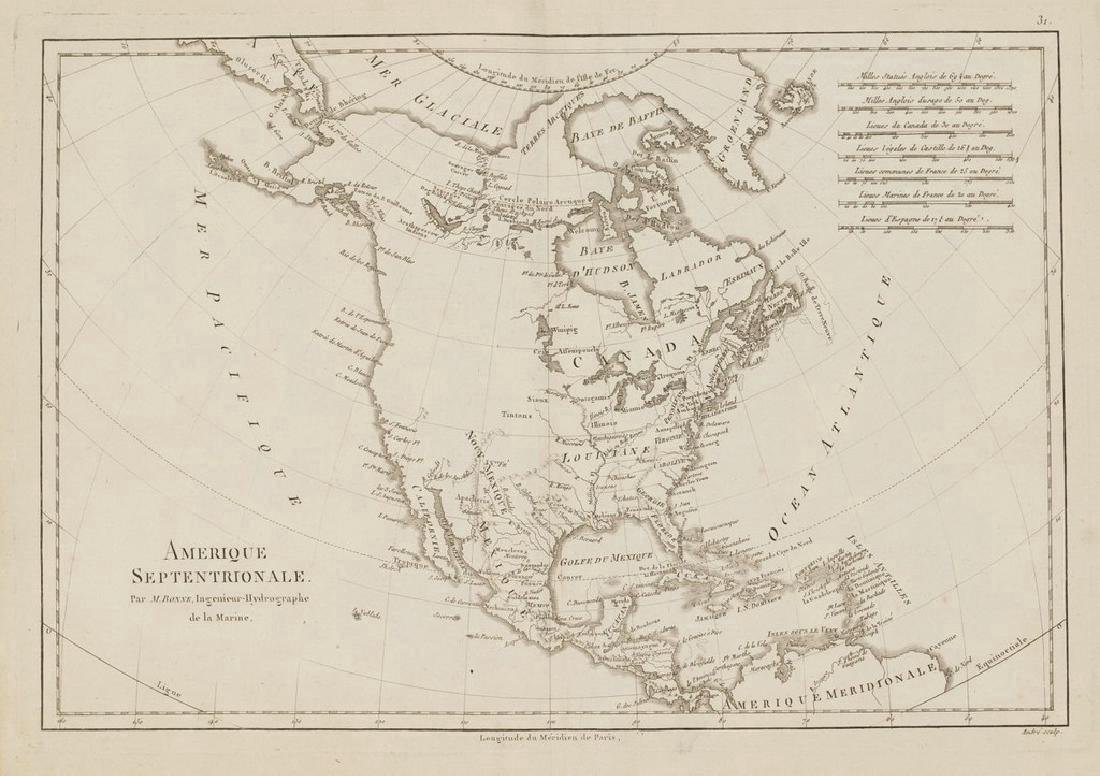 Bonne: Antique Map of North America, 1787