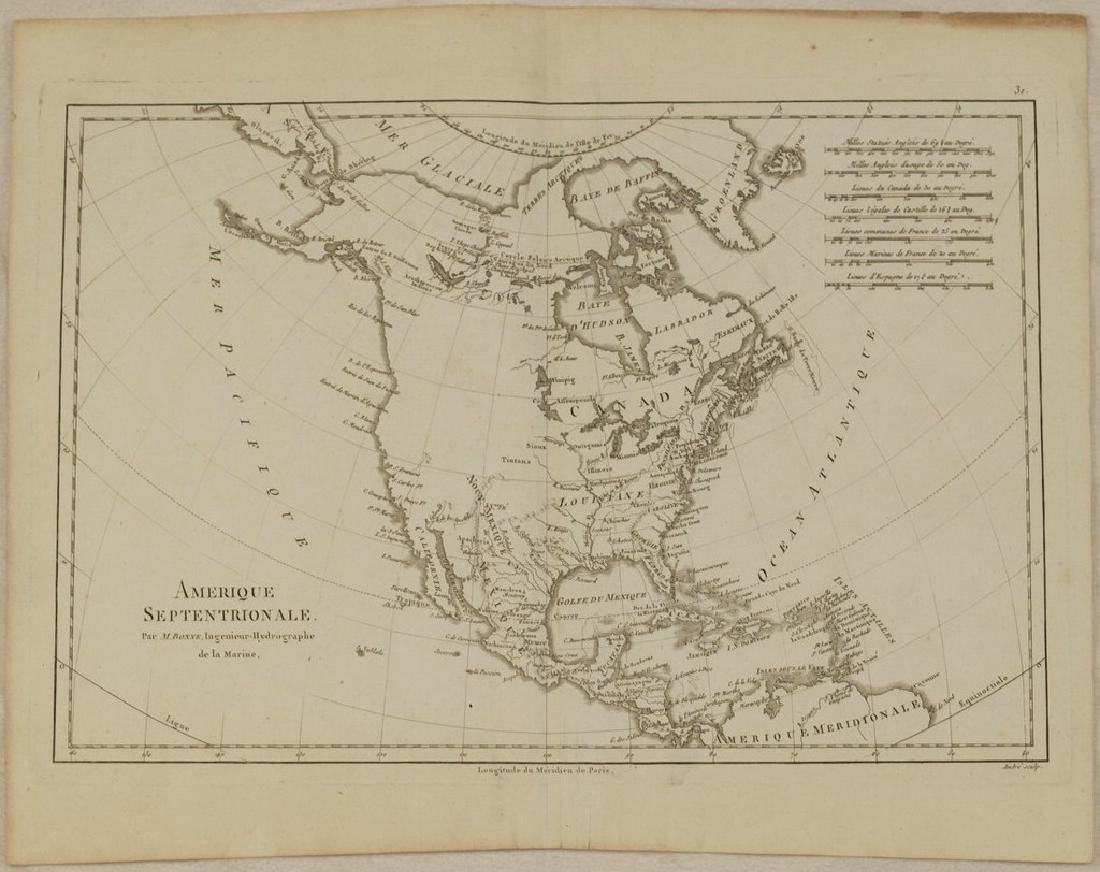 Bonne: Antique Map of North America, 1787 - 2