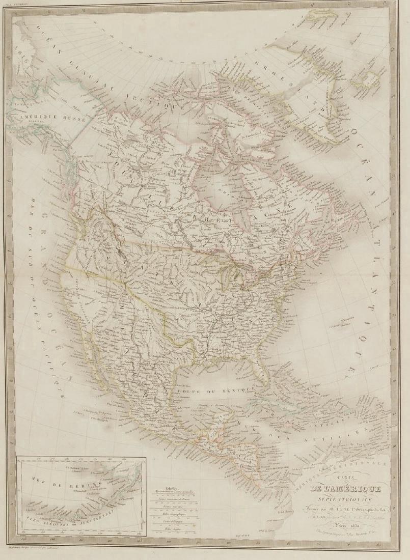 Lapie: Antique Map of North America, 1830