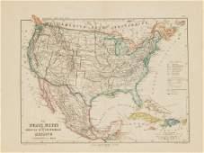 Schiaparelli: Antique Map United States & Mexico, 1890