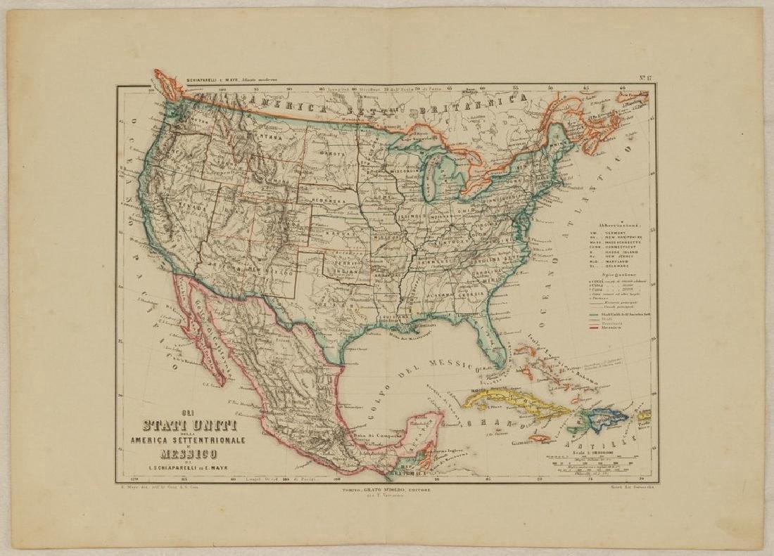 Schiaparelli: Antique Map United States & Mexico, 1890 - 2