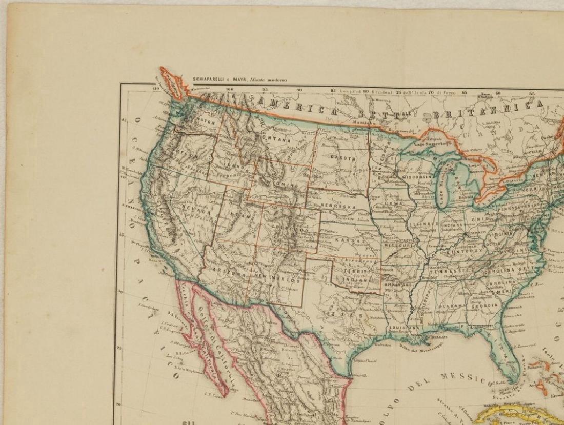 Schiaparelli: Antique Map United States & Mexico, 1890 - 3