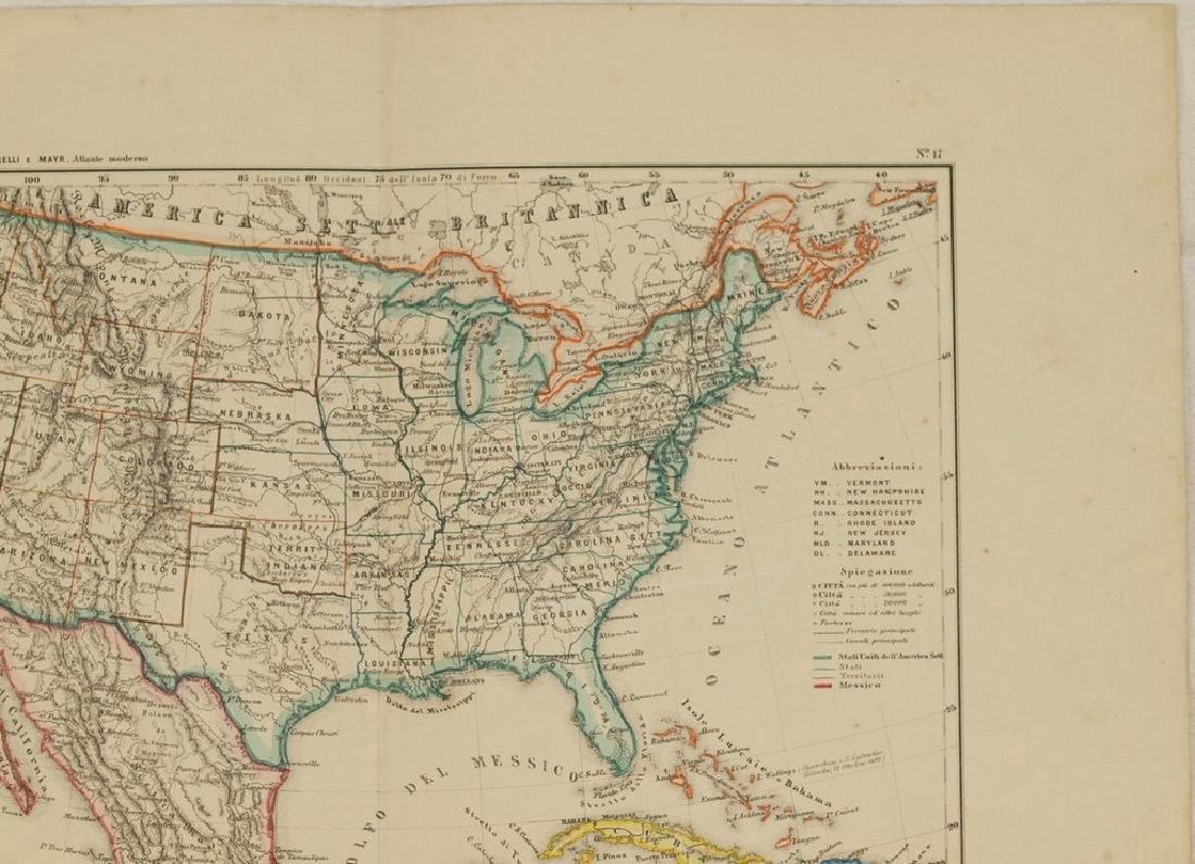 Schiaparelli: Antique Map United States & Mexico, 1890 - 4