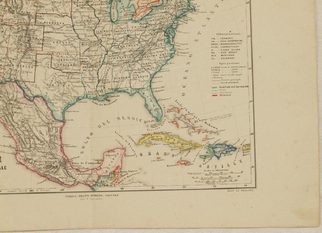 Schiaparelli: Antique Map United States & Mexico, 1890 - 5