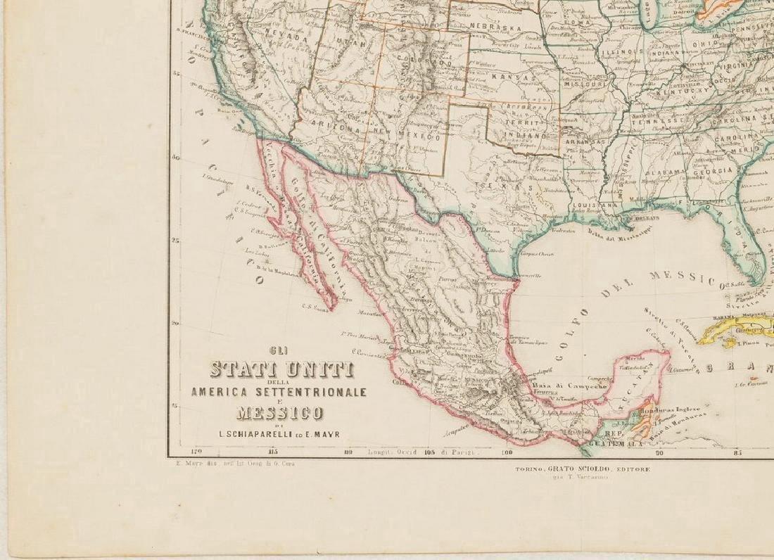 Schiaparelli: Antique Map United States & Mexico, 1890 - 6
