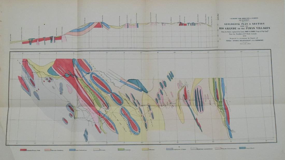 Antique Geological Plan for Pacific RR Rio Grande, 1856