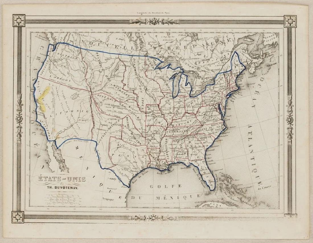 Duvotenay: Antique Map of the United States, 1852