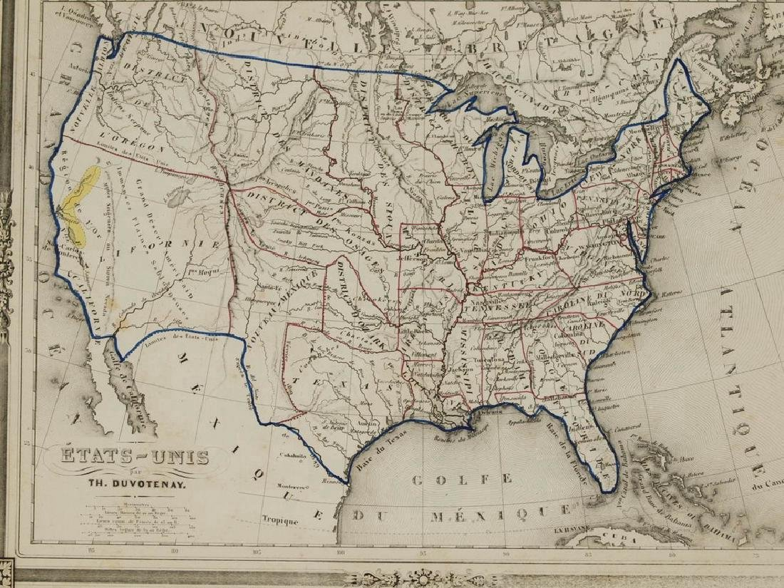 Duvotenay: Antique Map of the United States, 1852 - 5