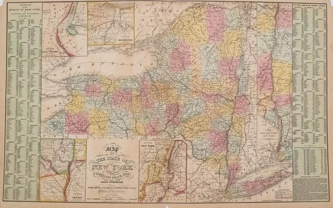 Thomas, Cowpwerthwait: Antique Map of New York, 1854