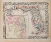 Mitchell: Antique Map of Florida, 1874