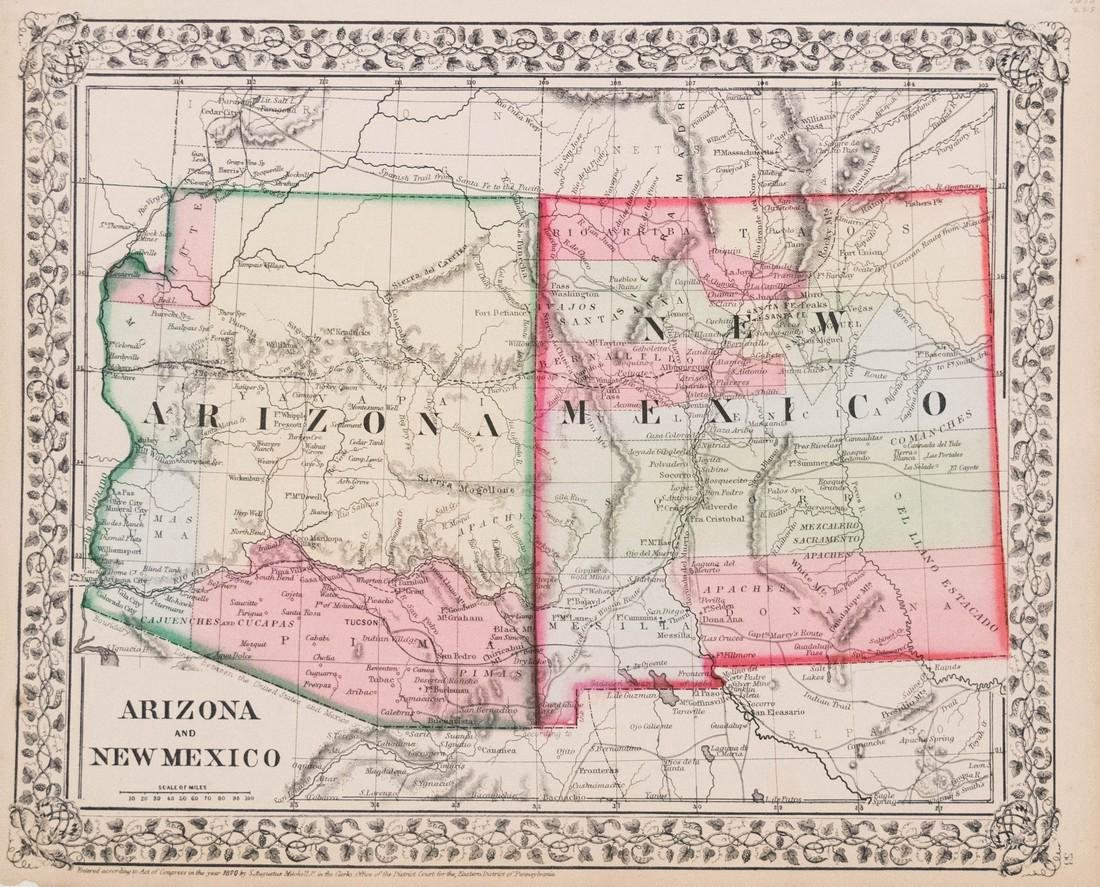Mitchell: Antique Map of Arizona and New Mexico, 1870