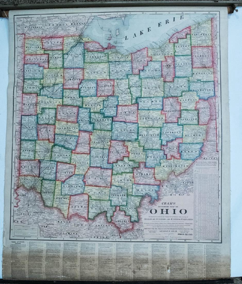Cram: Antique Ohio Railroad Retractable Wall Map, 1901