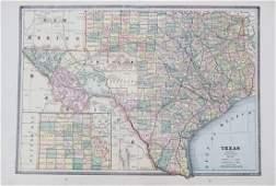 Cram: Antique Map of Texas, 1886