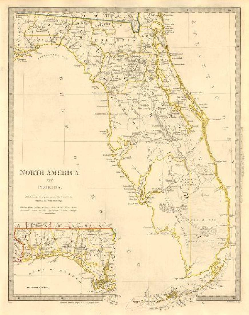 Antique Map Of Florida.Sduk Antique Map Of Florida 1846