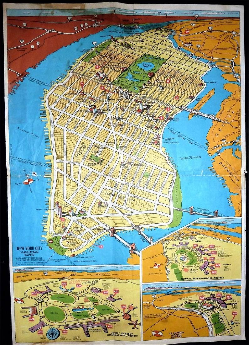 Avis Rent-A-Car NYC & Vicinity Vintage Road Map